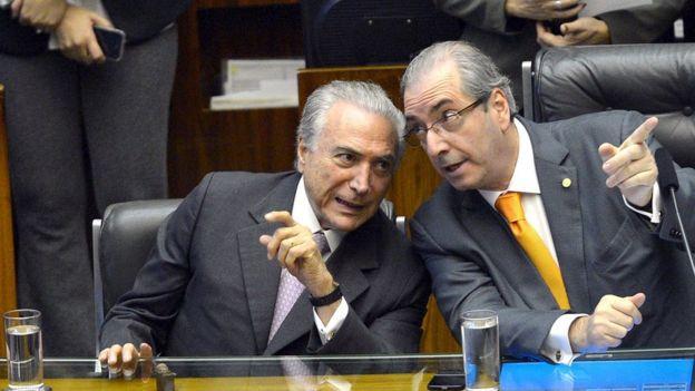 Michel Temer e Eduardo Cunha na Câmara, em 2015