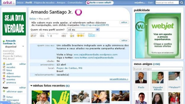 Captura de tela de perfil no Orkut