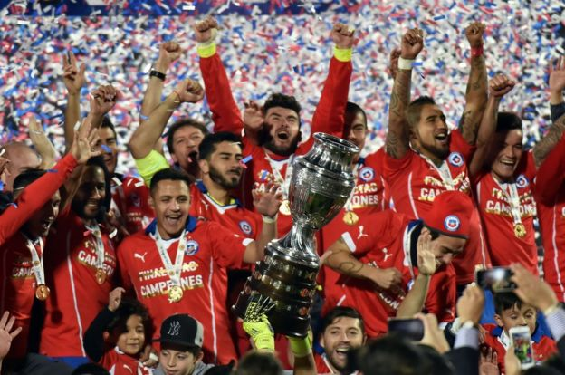 Chile celebra la Copa América de 2015
