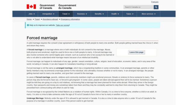 Página web del gobierno de Canadá