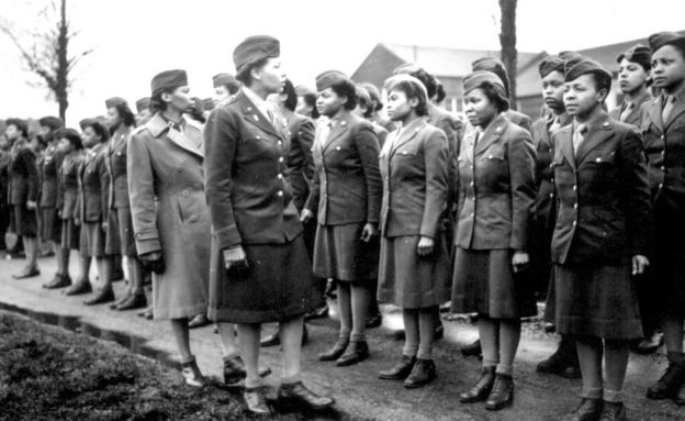 Maj. Charity E. Adams,...and Capt. Abbie N. Campbell inspect the first contingent of members of the Women's Army Corps