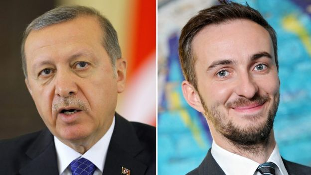 President Recep Tayyip Erdogan (L) and German comic Jan Boehmermann (R)