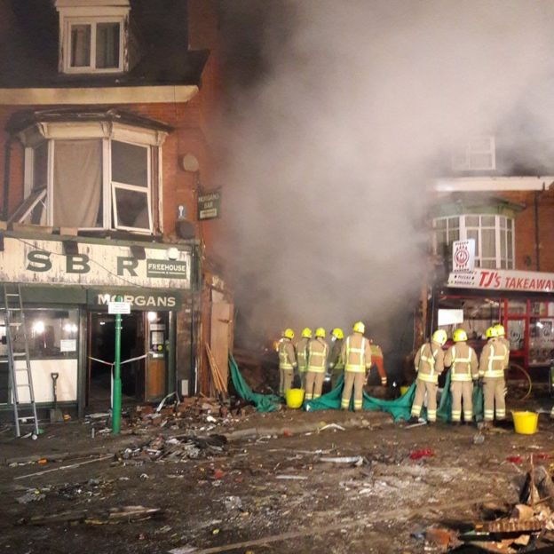 aftermath of the explosion in Leicester