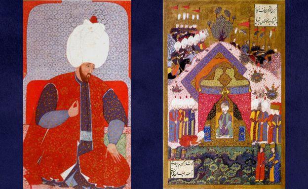 Solimán joven (derecha) y el sultán recibiendo a un embajador (izquierda) en una pintura de Matrakçı Nasuh.