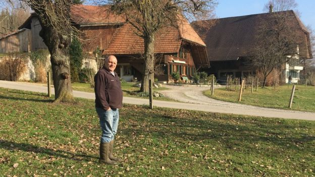 Fritz Bernhard in his farm