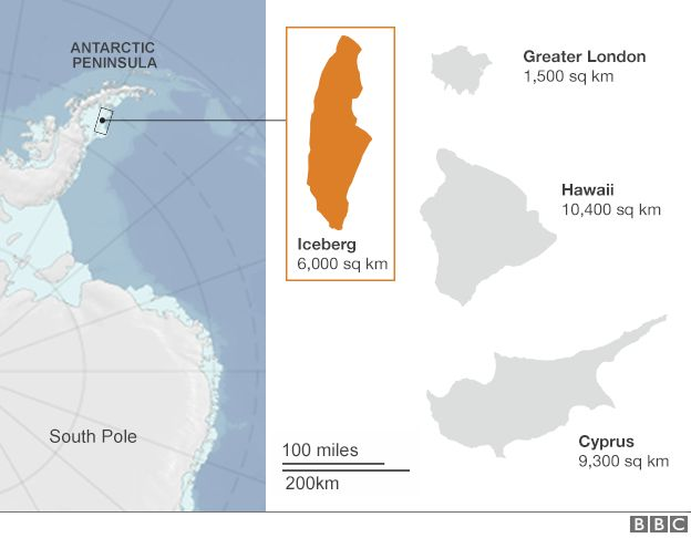 The iceberg that split from Antarctic today compared to London, Hawaii and Cyprus [624x486]
