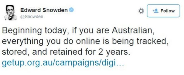 Edward Snowden: Beginning today, if you are Australian, everything you do online is being tracked...