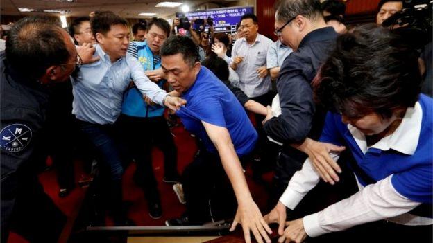 Scuffles in the Taiwan parliament
