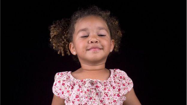 Little girl breathing
