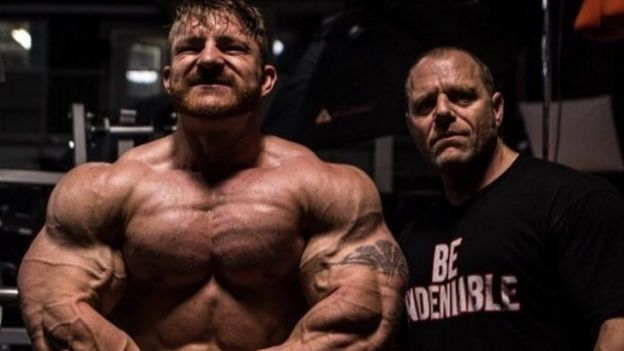 Flex Lewis and coach Neil Hill