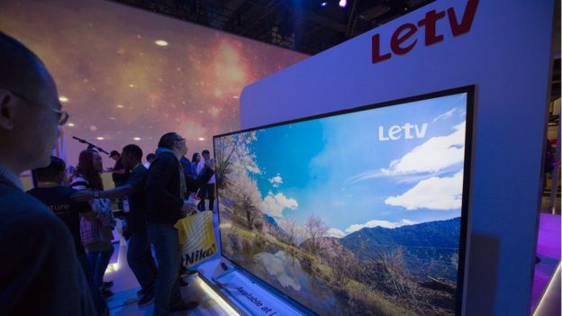 People look at the Letv 120-inch UHD 4K panel, January 9, 2016 in Las Vegas, Nevada at the CES 2016 Consumer Electronics Show