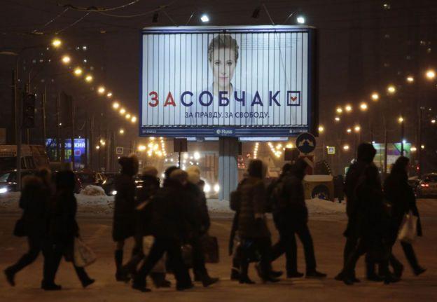 Tabeelo muujinaya ololaha doorashada ee Ksenia Sobchak,