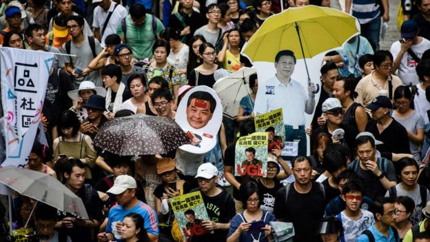 A protest march in Hong Kong on July 1, 2017