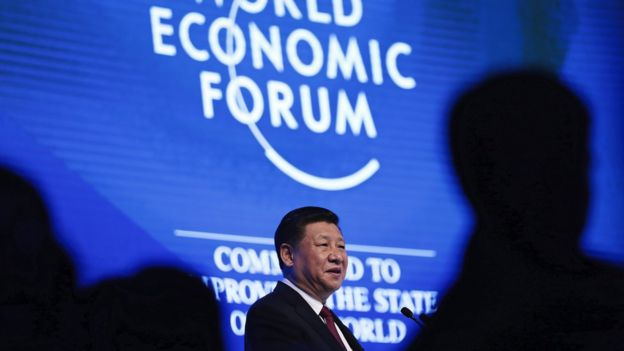 China's president Xi Jinping during the opening session of the World Economic Forum, Davos, 2017