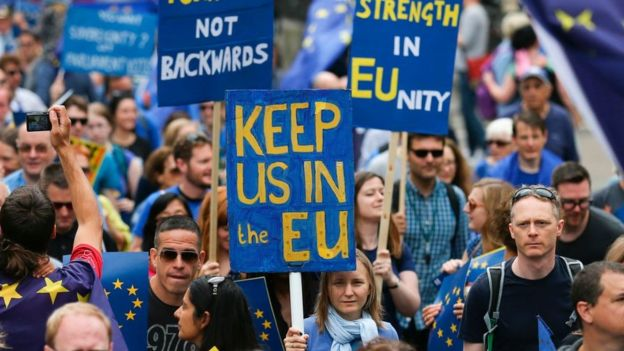 Manifestation in favor of the British stay in the European Union