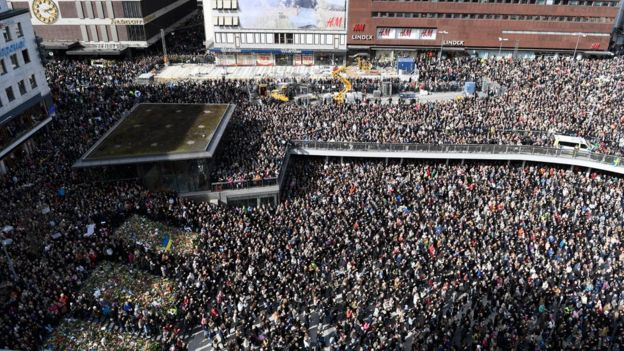 A large crowd gathered at Sergels Torg, central Stockholm