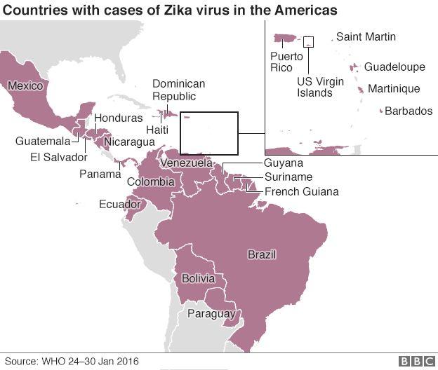 Zika Outbreak Travel Advice BBC News - Zika virus map us