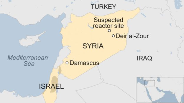 Map of Syria and Israel