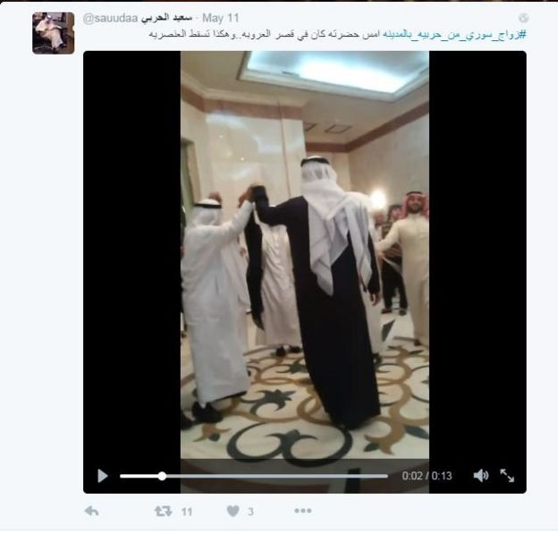Men dancing at Saudi wedding