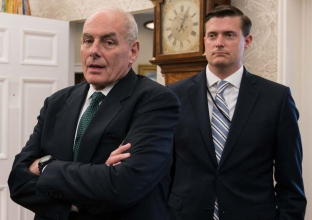 Mr Porter (R) and chief of staff John Kelly (L)