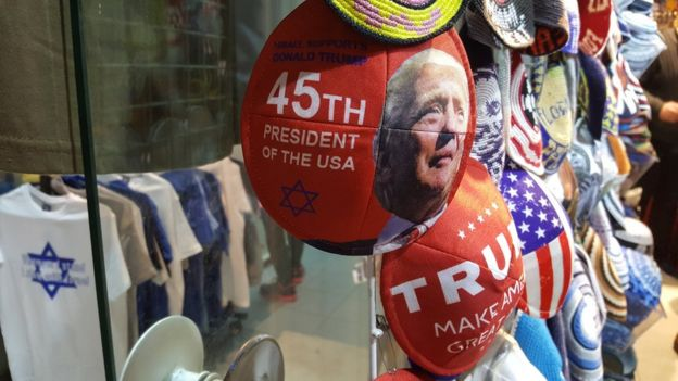 Jewish skullcaps printed with pro-Trump designs on sale in Jerusalem