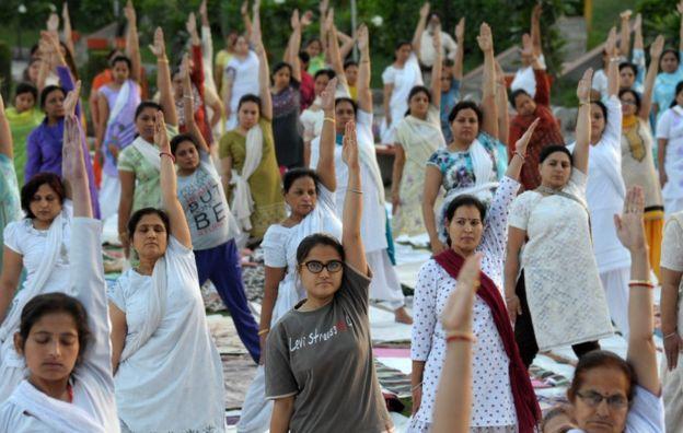 Indian women doing yoga