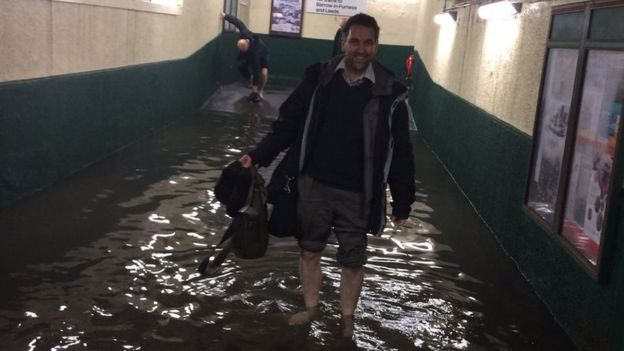 It flooded Carnforth Railway Station in Lancashire