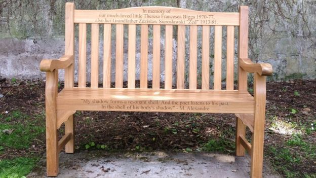 Memorial bench for Theresa Biggs on Caldey Island