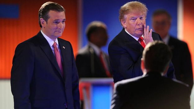 Ted Cruz and Donald Trump in a debate