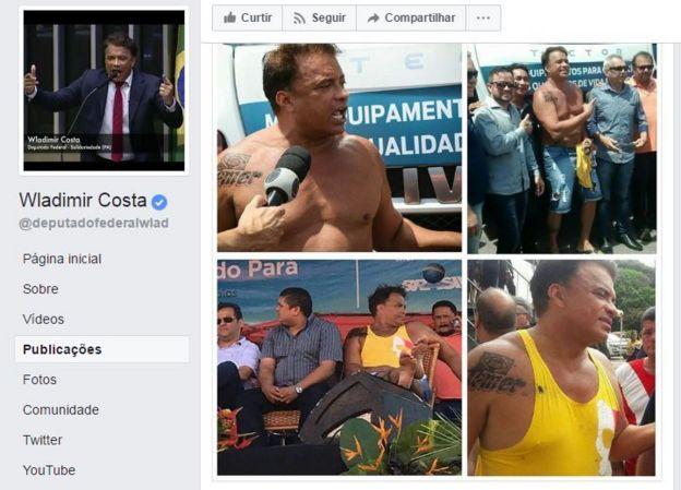 Postagem na página do deputado no Facebook