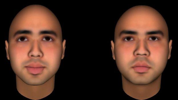 Una imagen de dos rostros, uno sonreído y otro no, de un estudio de la Universidad de Princeton