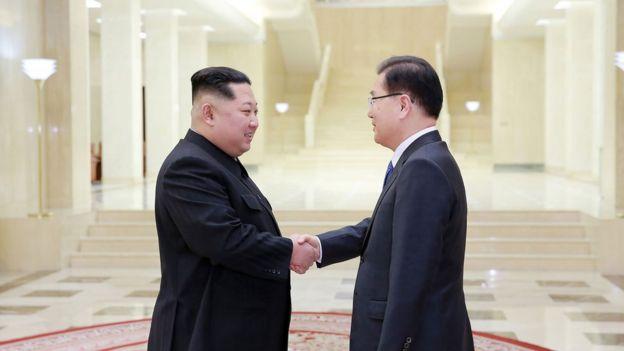 Kim Jong-un con Chung Eui-yong, jefe de la delegación surcoreana.