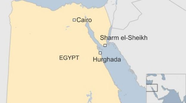 Egypt Attack Three Tourists Stabbed At Hurghada Hotel BBC News - Map of egypt and uk