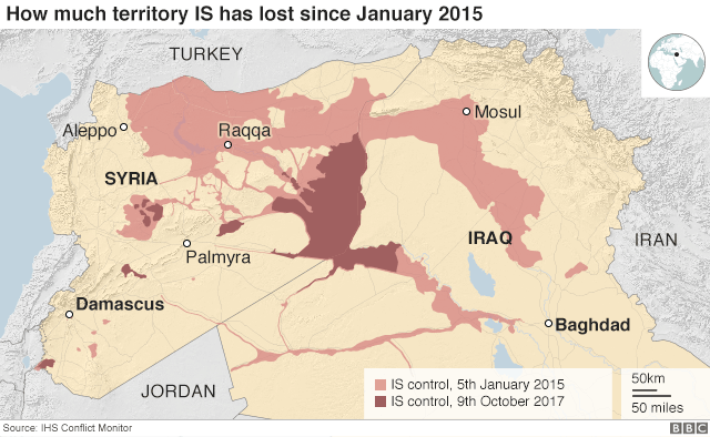 Map showing how much territory IS has lost since January 2015
