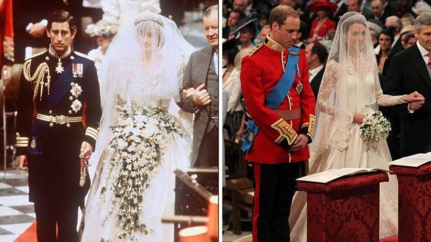 Свадебные фотографии Чарльза и Дианы и Уильяма и Кейт