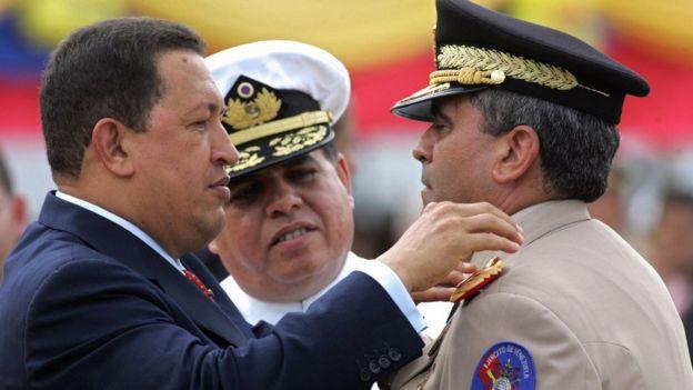 Hugo Chávez y Raúl Baduel.