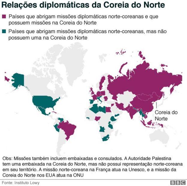 Mapa de países que mantêm relações diplomáticas com a Coreia do Norte