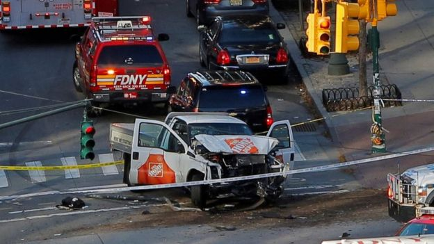 Truck at scene of fatal attack in New York City on 31 October 2017