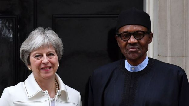 British Prime Minister Theresa May and Nigerian President Muhammadu Buhari