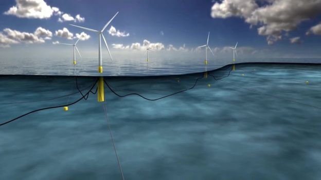 First Hywind floating wind turbine arrives off Scotland