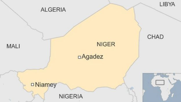 Map Of Niger Showing Capital Niamey In South West And Agadez Where The Base Is