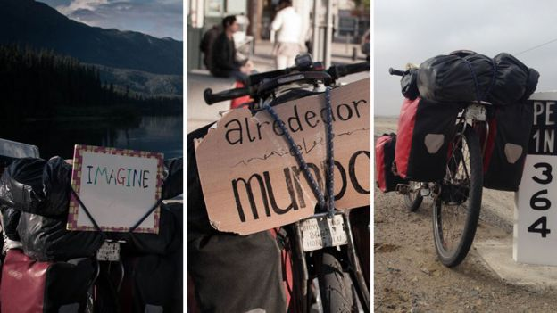 three pictures of the bike, which sometimes displayed signs