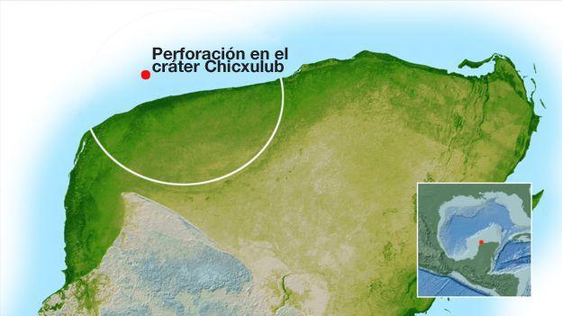 Cráter Chicxulub en la Península de Yucatán