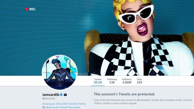 Cardi B's Twitter is now only accessible to confirmed followers