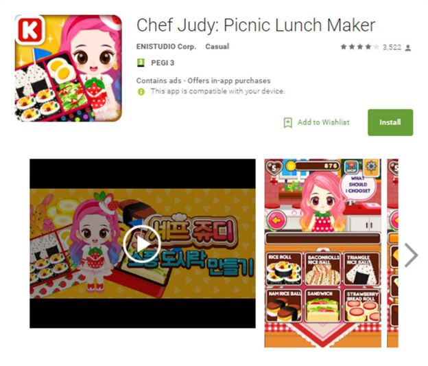 """""""Judy malware"""" Chef Judy game on the Play Store"""
