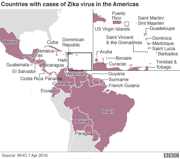 Map showing the countries that have had confirmed cases of the Zika virus