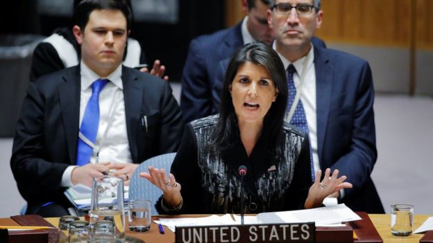 US ambassador to the UN Nikki Haley speaks against a Russian resolution at the UN in New York, November 16, 2017