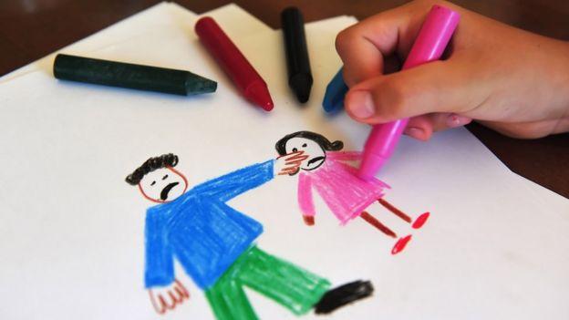 Dibujo de maltrato infantil