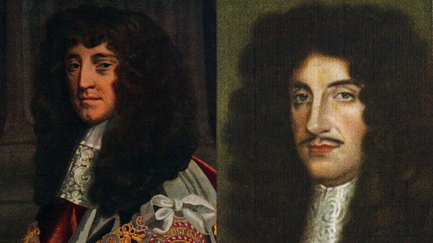 príncipe Rupert (izquierda) rey Carlos II (derecha)