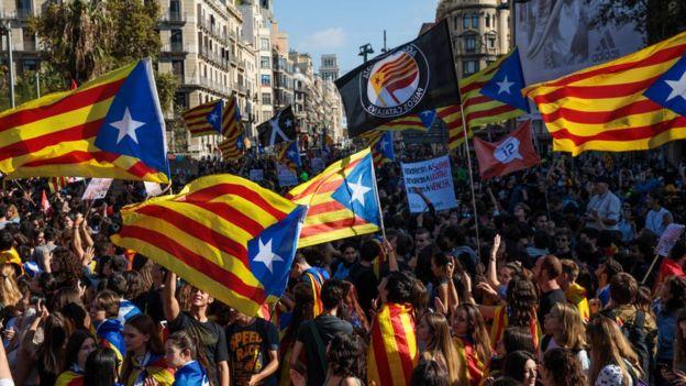 Manifestantes independentistas en Barcelona.